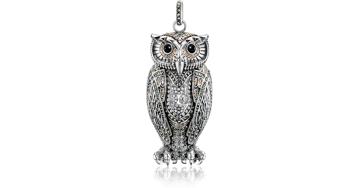 679c33cd601fd6 Lyst Thomas Sabo Rebel Icon Sterling Silver Owl Pendant W Cubic