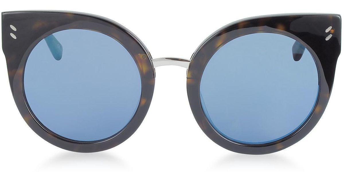 f322e812888 Lyst - Stella McCartney Sc0036s Round Cat Eye Acetate Women s Sunglasses in  Blue