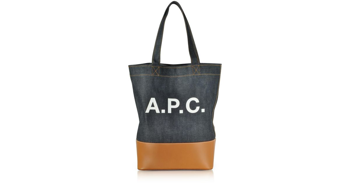 f29df6c32f Lyst - A.P.C. Axel Denim And Leather Tote Bag in Black