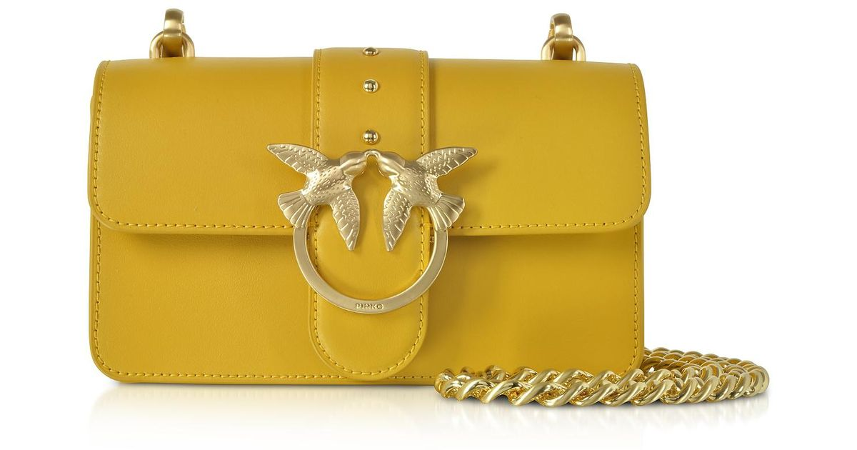 9a7fc0560d4 Pinko Mini Love Simply Shoulder Bag in Yellow - Lyst
