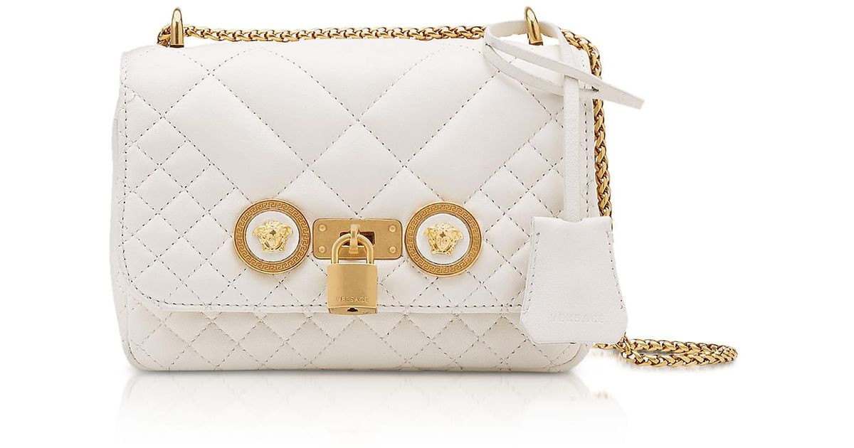 ee4b9e530f3b Versace Icon Quilted Leather Crossbody Bag in White - Lyst