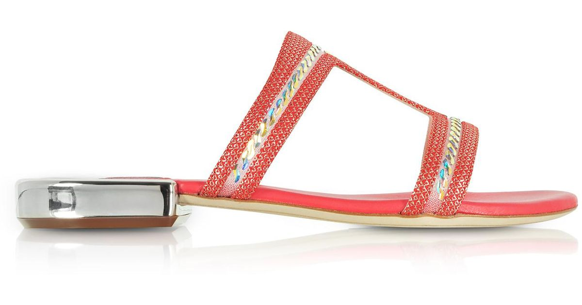RODO Designer Shoes, Suede and Lurex Flat Sandals w/Crystals