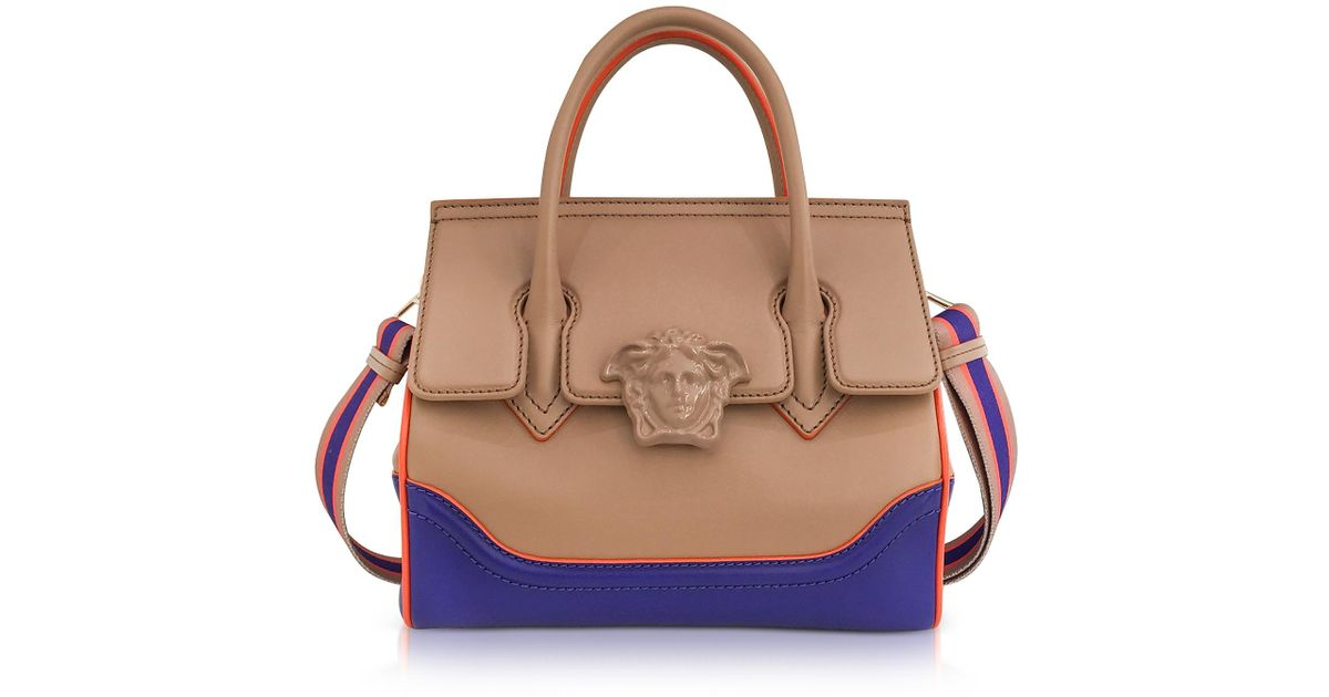 Lyst - Versace Palazzo Color Block Leather Satchel Bag in Natural 139283b62879b