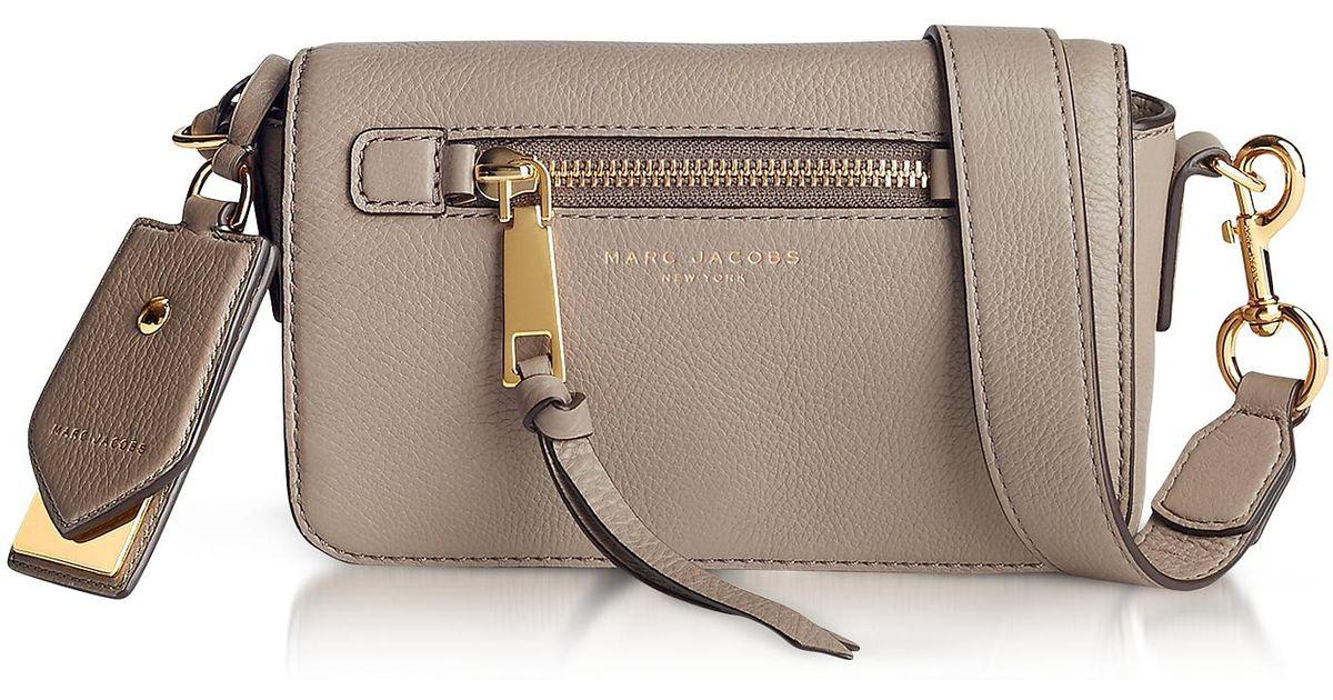 b8d265eea99b Lyst - Marc Jacobs Recruit Mink Leather Crossbody Bag in Gray