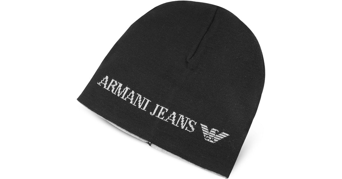 1a93f665 Armani Jeans Solid Wool Blend Men's Beanie Hat in Black for Men - Lyst
