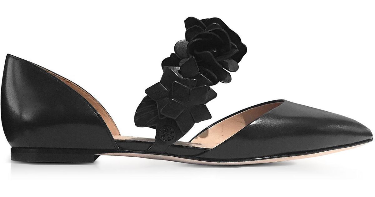 608a511d1 Lyst - Tory Burch Black Leather Blossom D orsay Flat in Black