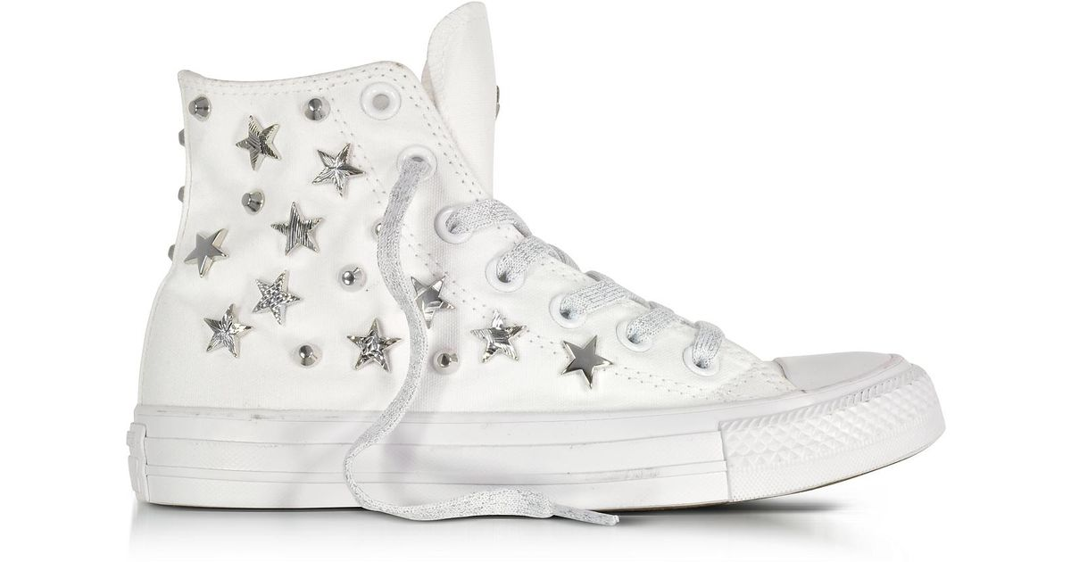 outlet store 8063f 0d9ad Converse Chuck Taylor All Star Hi White Sneakers W/stars And Studs in White  - Lyst