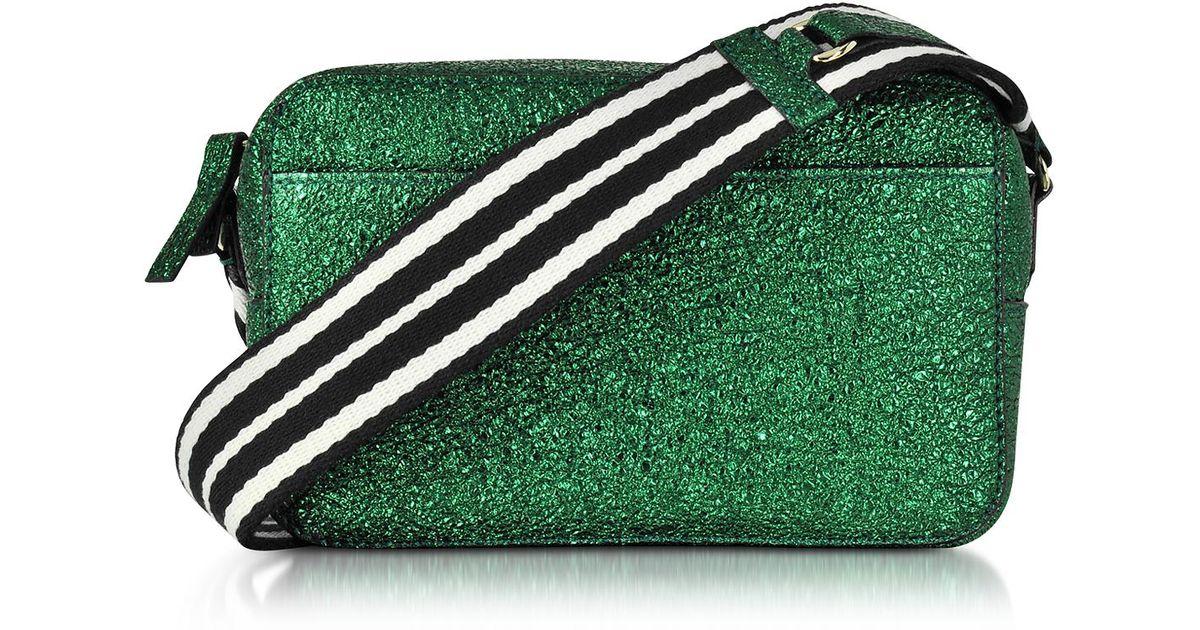 Lyst - RED Valentino Dark Green Crackled Metallic Leather Crossbody Bag W striped  Canvas Strap in Green d7b71b964344f