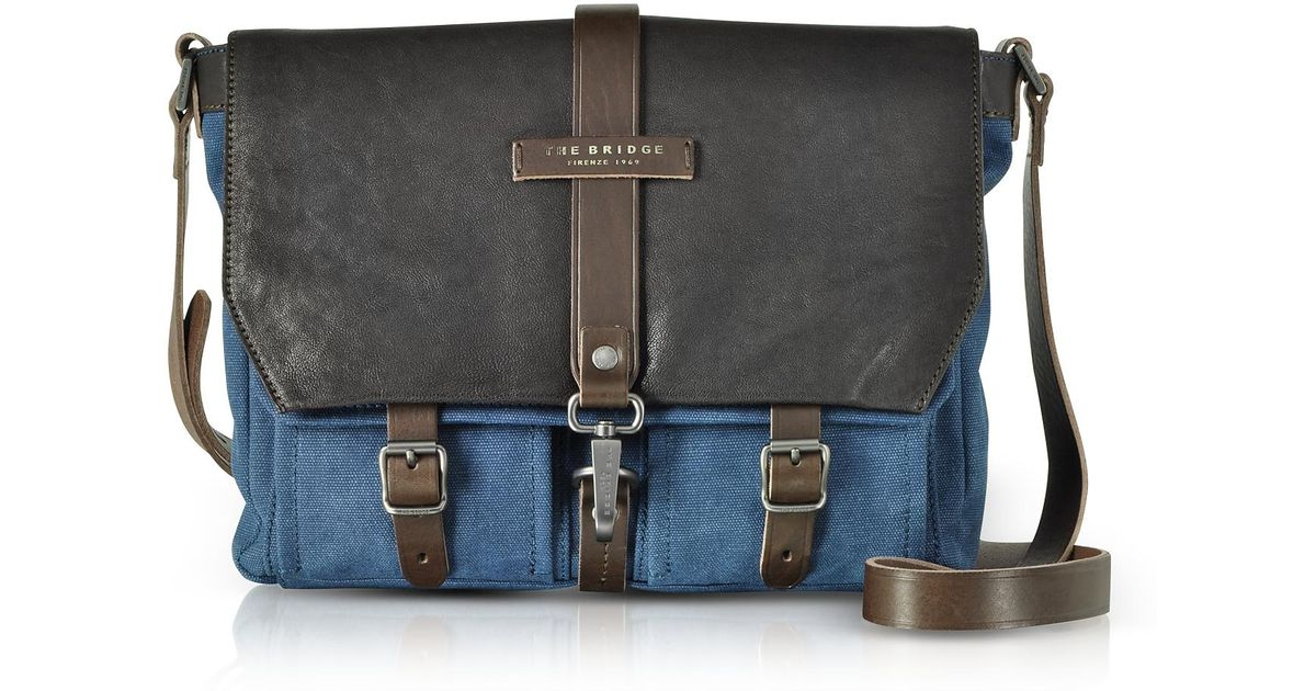 The Bridge Briefcases, Carver-D Canvas Messenger Bag w/Leather Flap