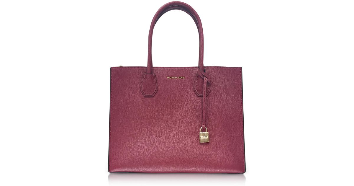 a158e074101b Michael Kors Mercer Large Mulberry Pebble Leather Convertible Tote Bag in  Purple - Lyst