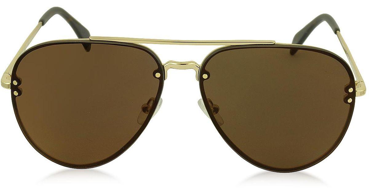de3eb108e458 Lyst - Céline Mirror Cl 41391/s J5glc Black Acetate & Gold Metal Aviator  Unisex Sunglasses in Black