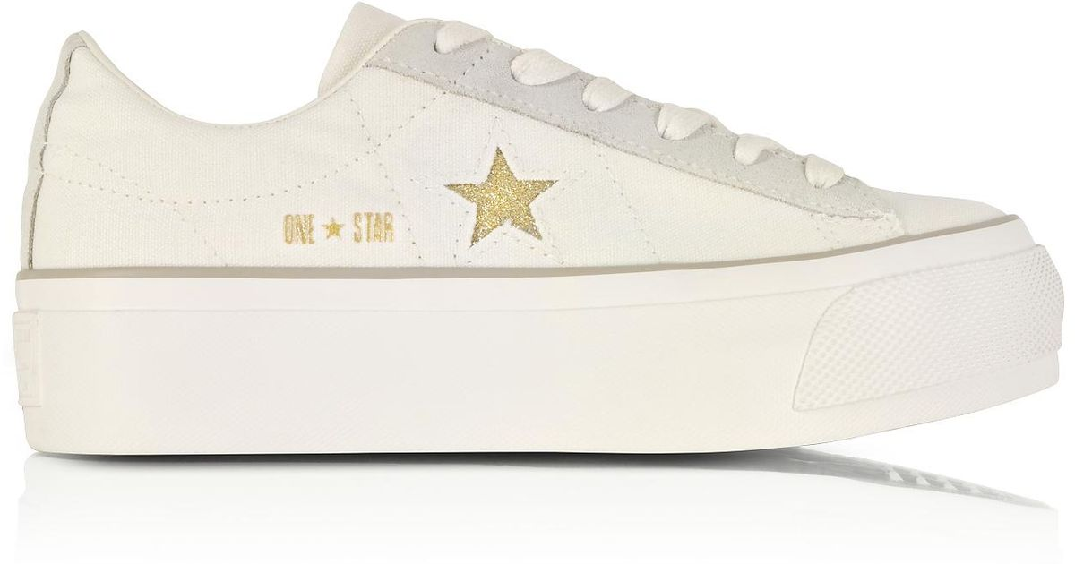 Lyst - Converse One Star Ox Egret White Canvas Flatform Sneakers W gold  Glitter Star in White 45c369145