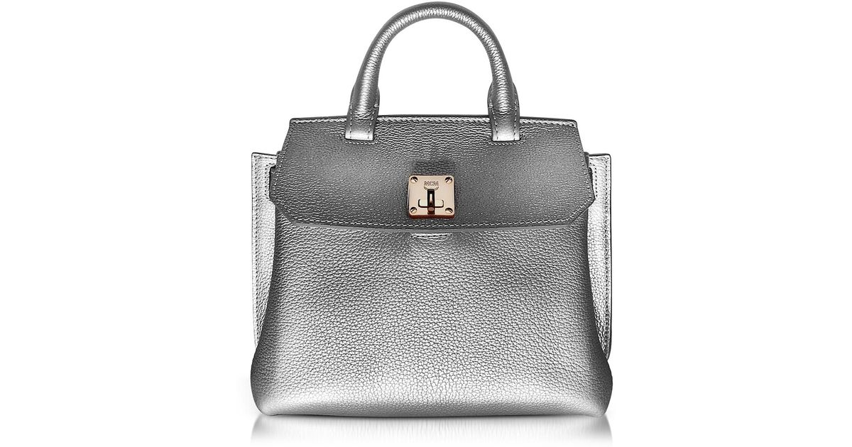 2a1179af4a07 Lyst - MCM Milla Spike Silver Park Avenue Leather Small Crossbody in  Metallic