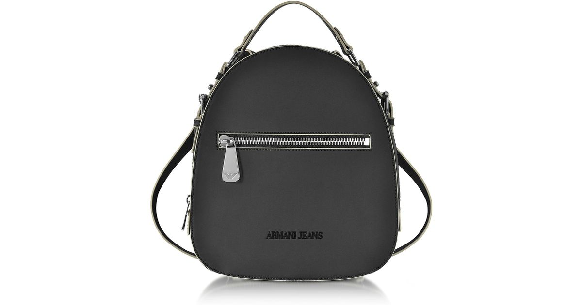 73344a529e0f Lyst - Armani Jeans Small Black Eco Leather Backpack in Black