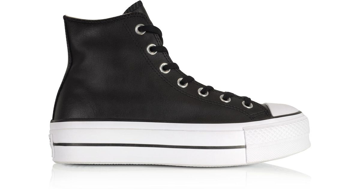 77a8cf5cd Converse Chuck Taylor All Star Lift Clean Black Leather High Top Platform  Sneakers in Black - Lyst