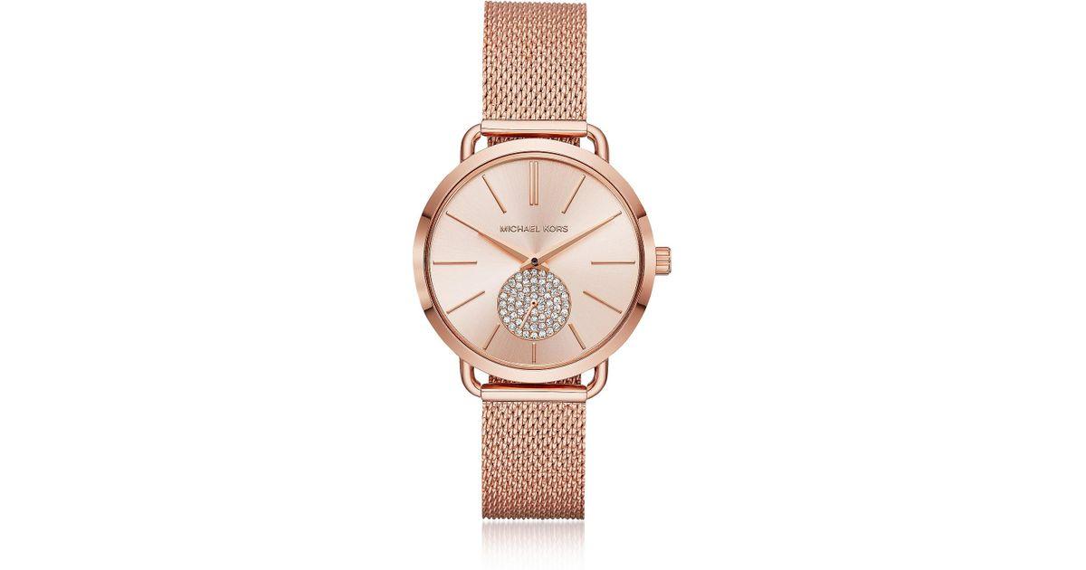 593a35ff6c5e Michael Kors Portia Mesh Rose Gold Tone Watch in Pink - Lyst