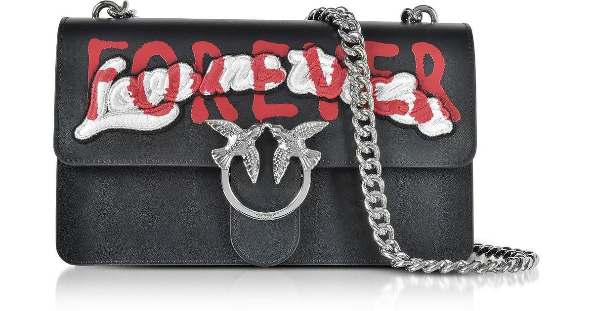 c47f2c58401d Lyst - Pinko Love Me Tender Forever Black Eco Leather Shoulder Bag in Black
