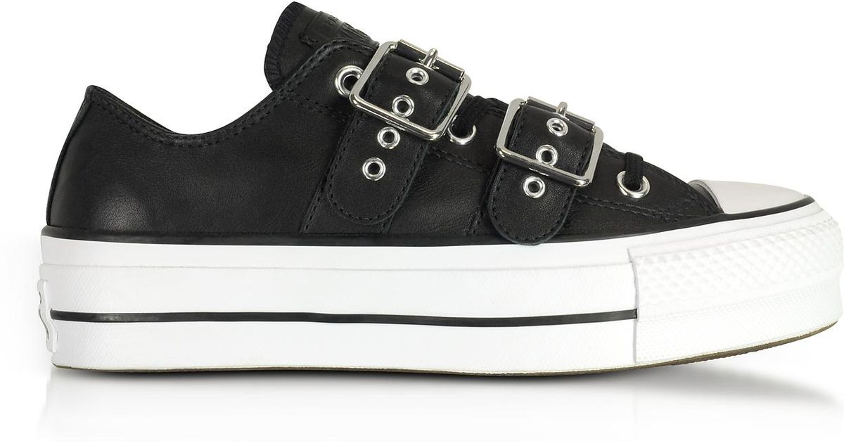 c6c970d2e278 Converse Chuck Taylor All Star Lift Buckle Black Platform Sneakers in Black  - Lyst