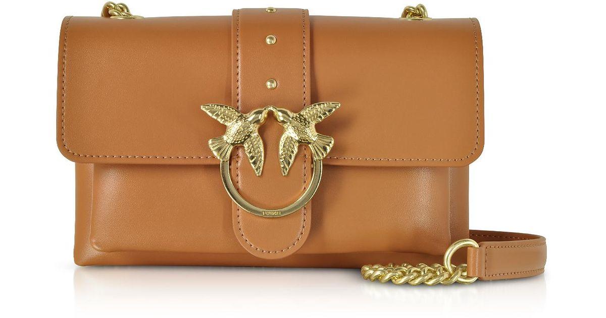 94e1b52771d35 Pinko Mini Love Soft Shoulder Bag in Brown - Lyst