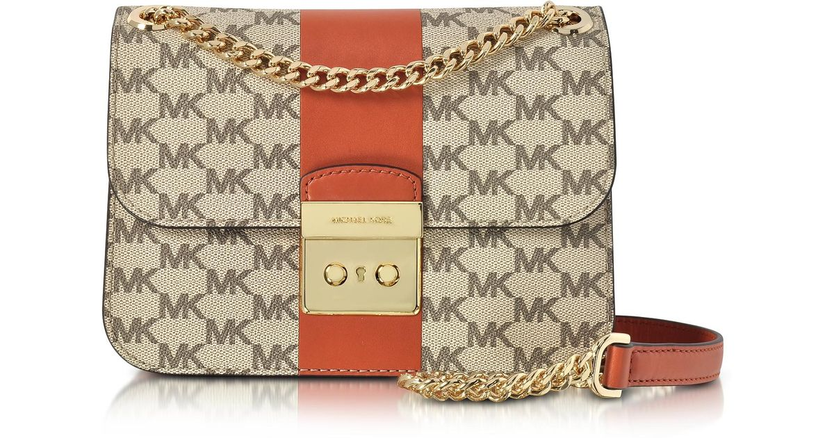 4dd42b22dbd Lyst - Michael Kors Sloan Editor Medium Center Stripe And Heritage  Signature Chain Shoulder Bag in Brown