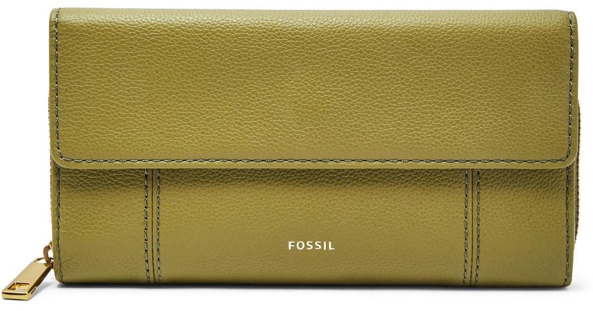 66a2d6d8d8ca Lyst - Fossil Jori Rfid Flap Clutch Wallet Olive in Green