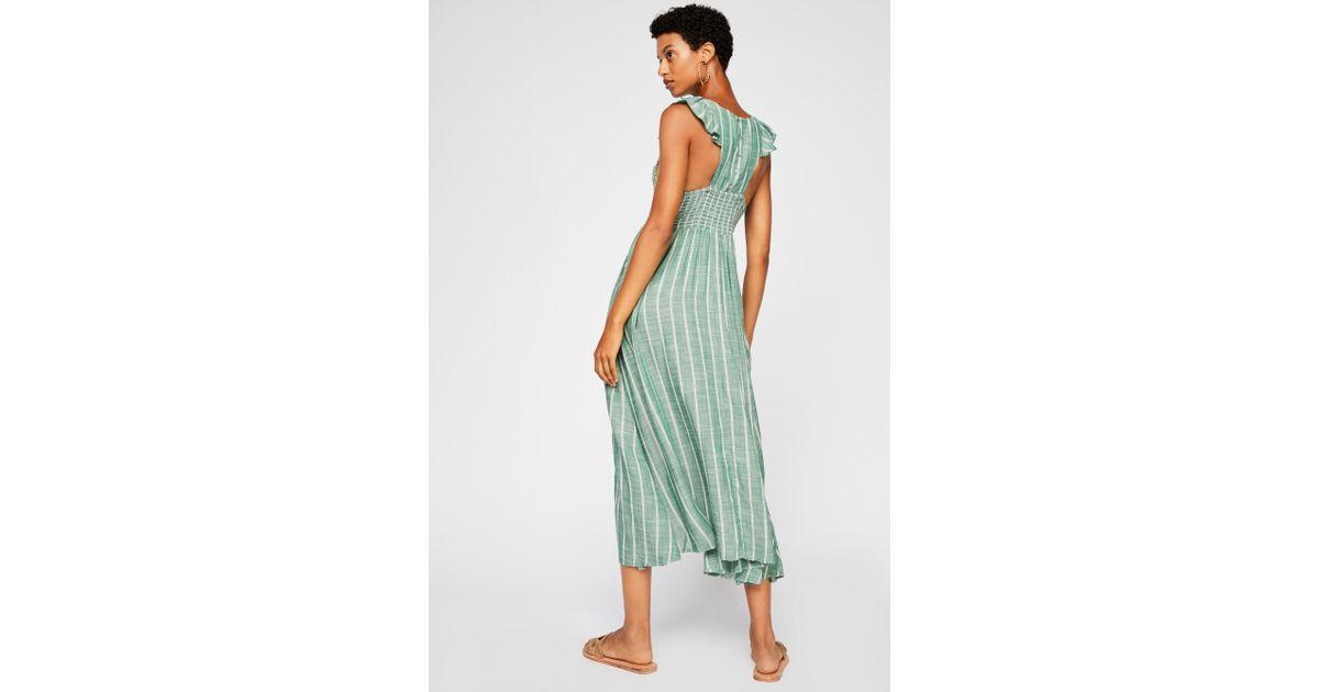 f95c23457ab9 Lyst - Free People Chambray Butterflies Midi Dress in Green