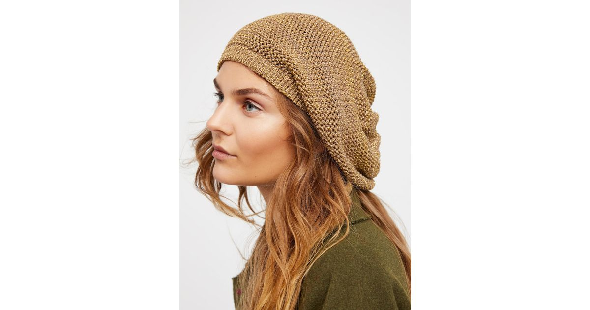 Lyst - Free People Metallic Knit Slouchy Beret 488c1e7aa64