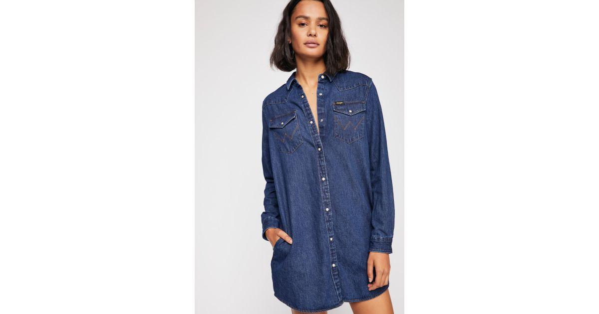 10af37cd8ac Lyst - Free People Wrangler Denim Dress in Blue - Save 30%
