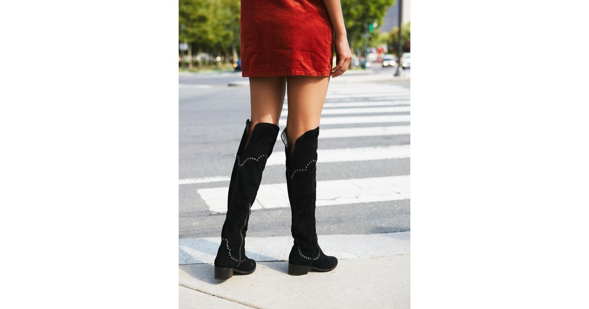 37e6609e43e Lyst - Free People Cara Eyelet Over The Knee Boot in Black