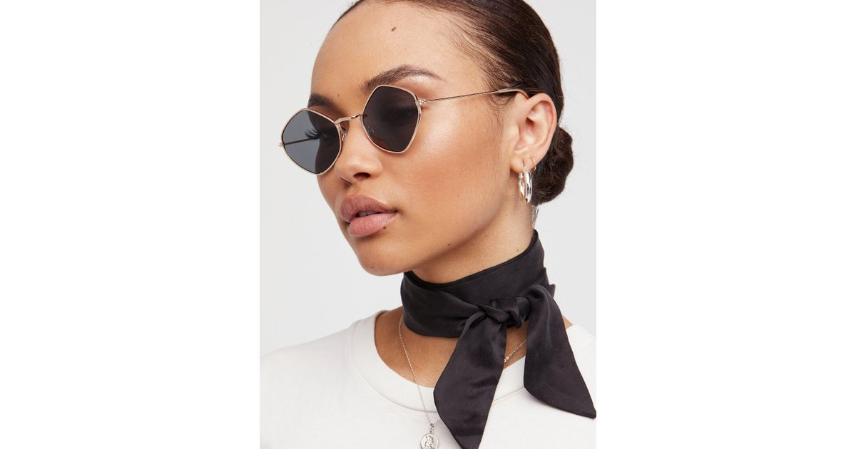 7ebbbe58d30a Lyst - Free People Dita Diamond Sunglasses in Black