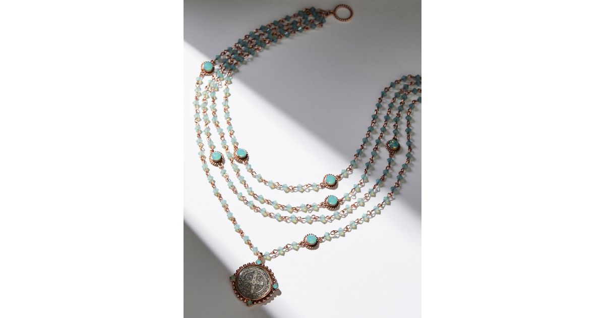 Free people San Benito Opal Medallion Necklace in Metallic Lyst
