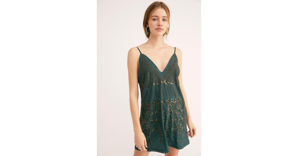 2b2aa63c954 Lyst - Free People Arizona Nights Embellished Slip By Intimately in Green