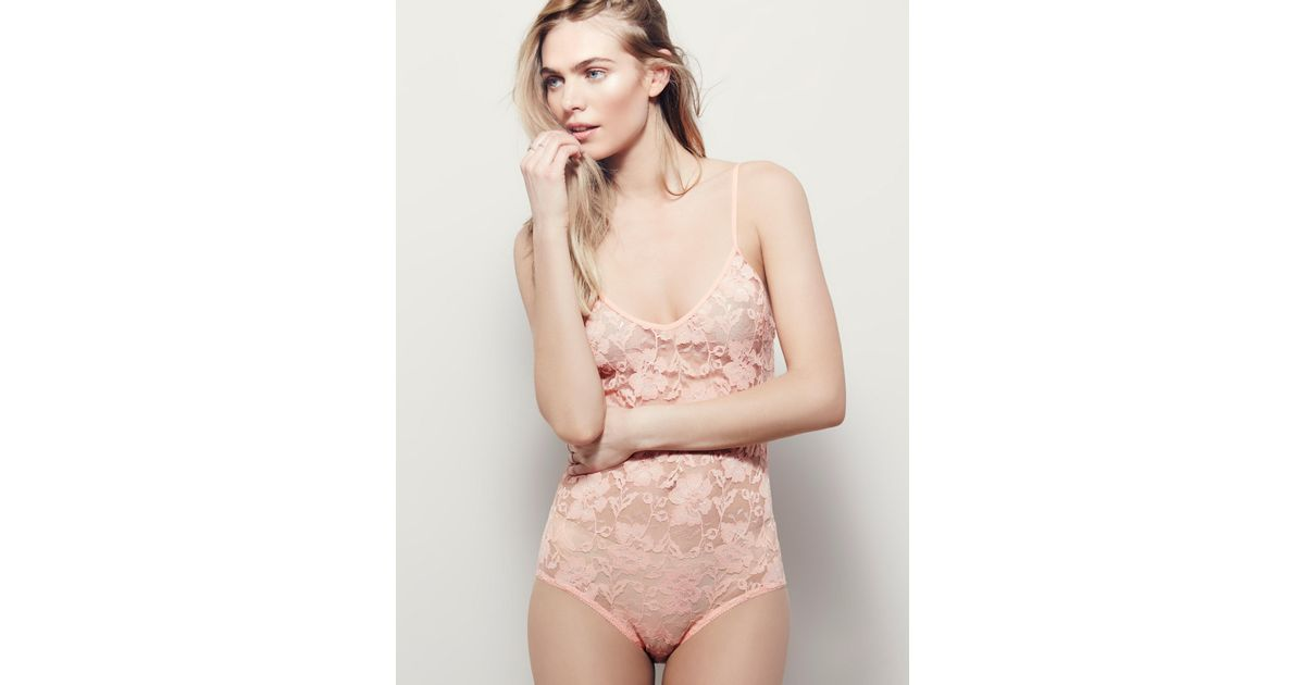 Lyst - Free People Lace Bodysuit in Natural 284cfb64e
