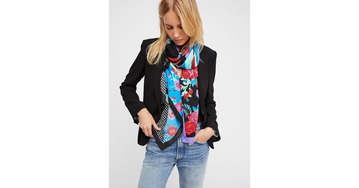 0be4fae42e894 Lyst - Free People In The Mix Printed Scarf in Black