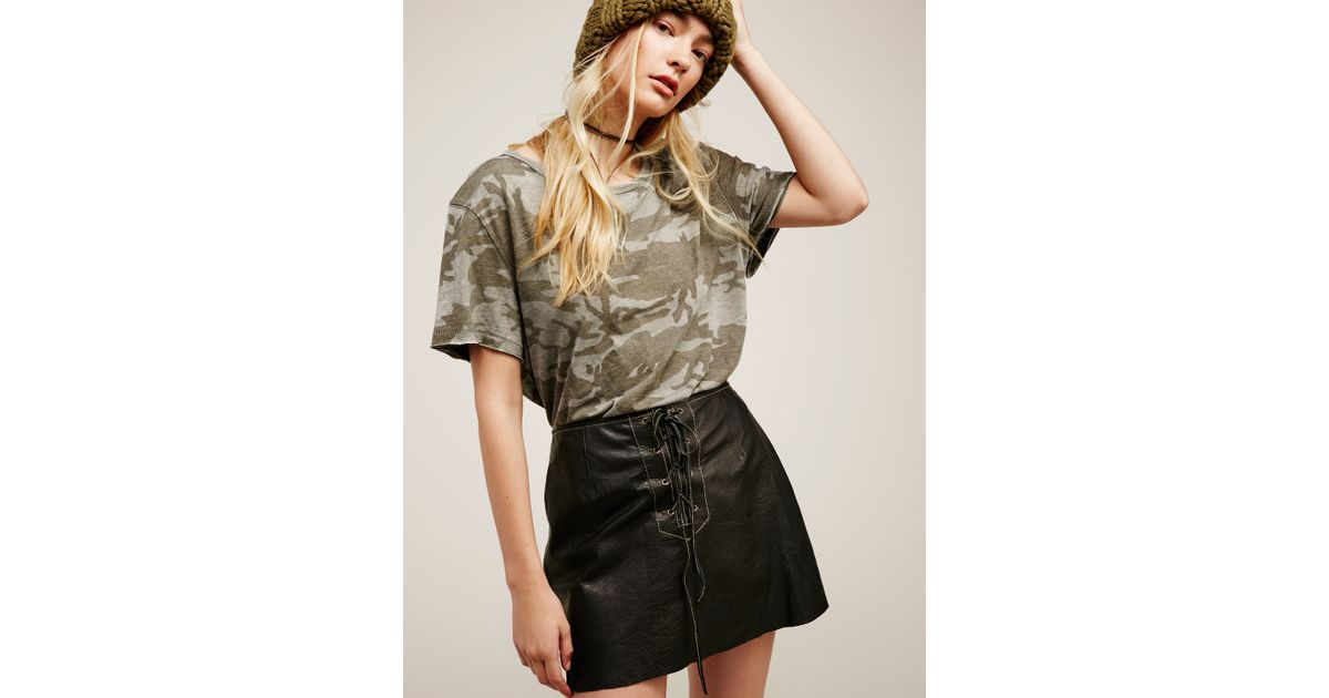 6c8b8c799f Free People Join Hands Leather Skirt in Black - Lyst