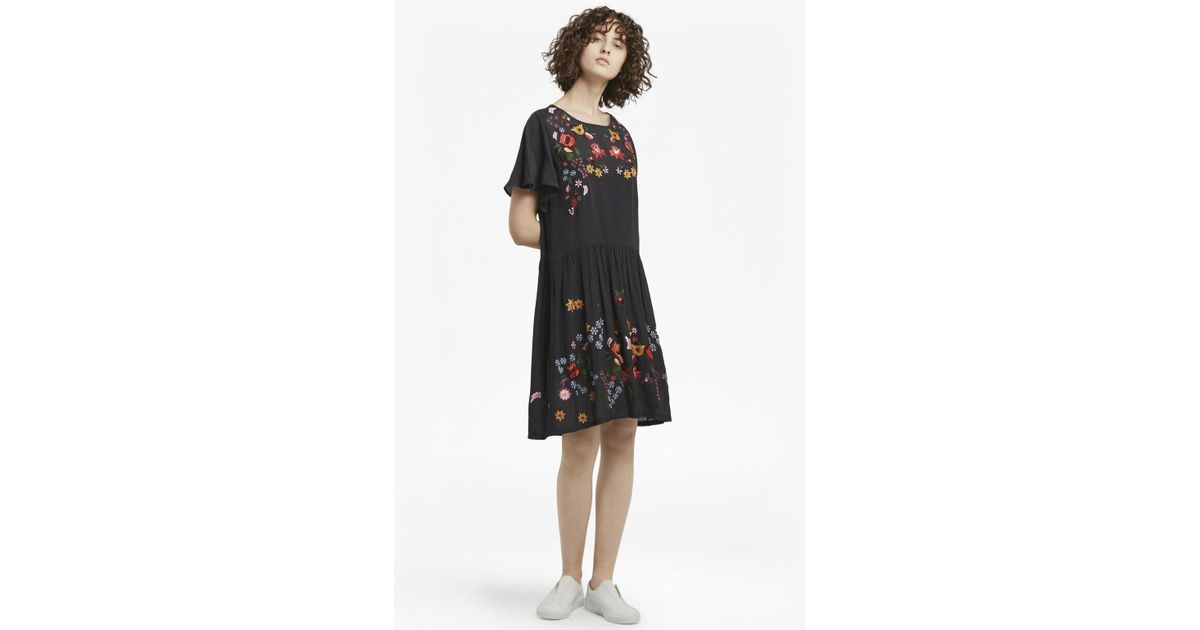 6f72096b899 Lyst - French Connection Alice Drape Embroidered Dress in Black