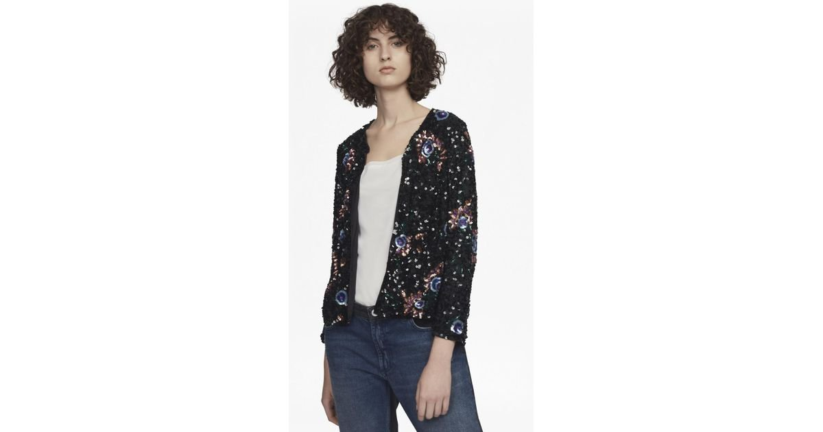a5691adba65 French Connection Valerie Sparkle Long Sleeve Jacket in Black - Lyst