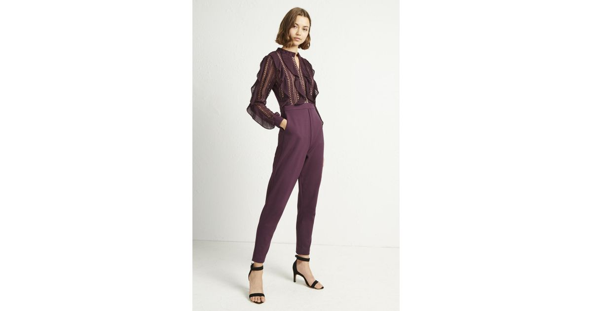 a8d50591aa Lyst - French Connection Patricia Lace Jersey Jumpsuit in Purple