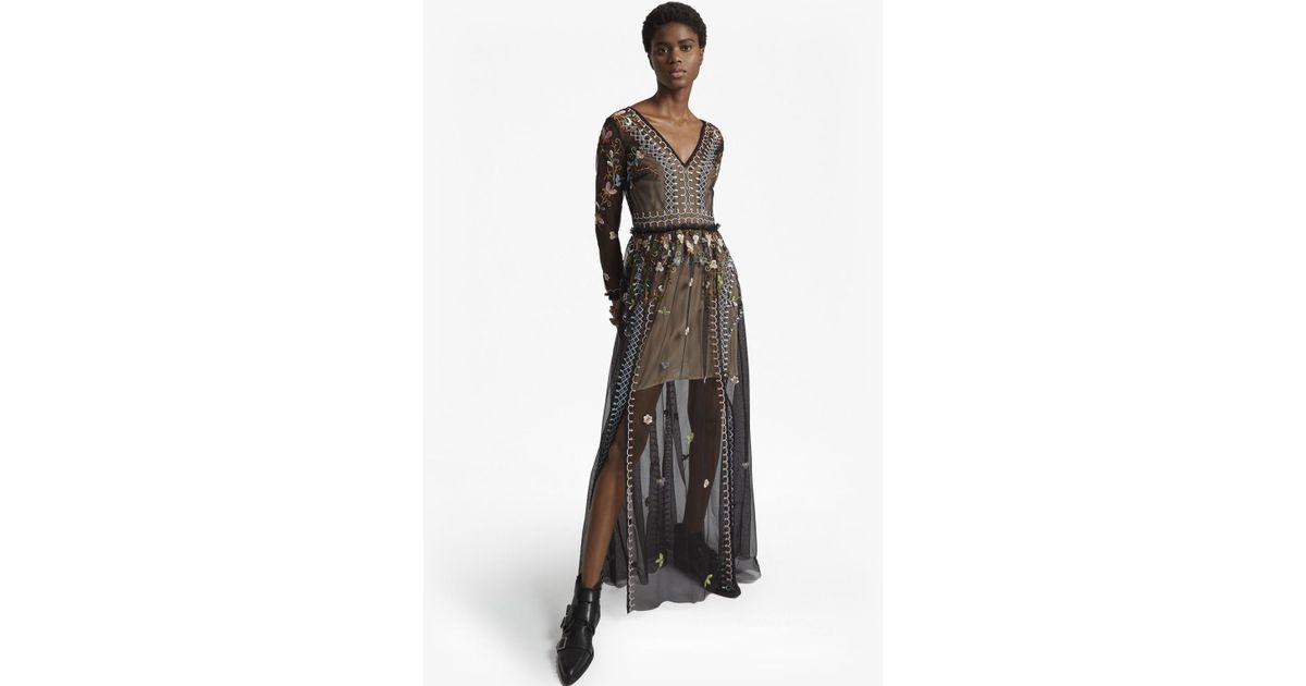 2497dda8cf4f Lyst - French Connection Bijou Stitch Long Sleeved V Neck Maxi Dress in  Black