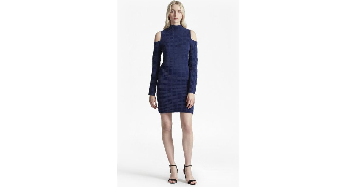 9fe7dd2a106 French Connection Mozart Ladder Knit Cold Shoulder Dress in Blue - Lyst