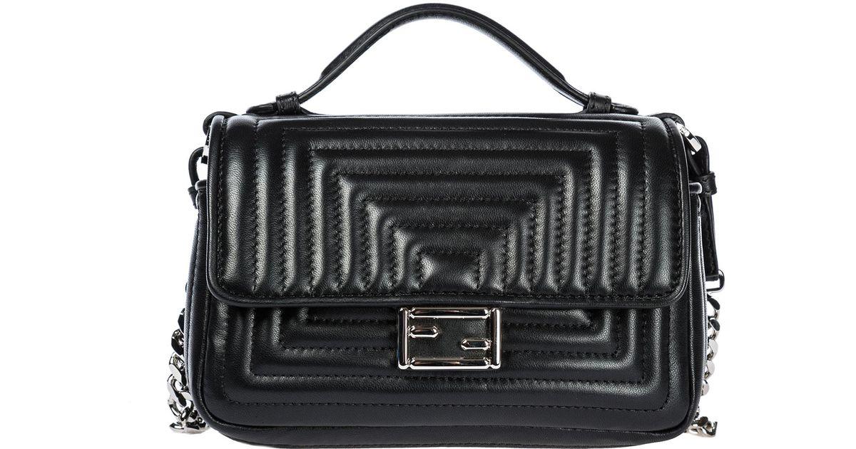 85109c0d375a Lyst - Fendi Leather Cross-body Messenger Shoulder Bag Double Micro  Baguette in Black