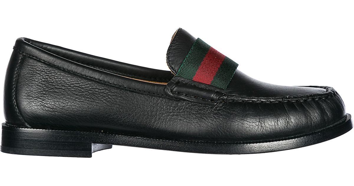 fe36b45c74be Gucci Boys Shoes Baby Child Loafers Moccassins Leather in Black for Men -  Lyst