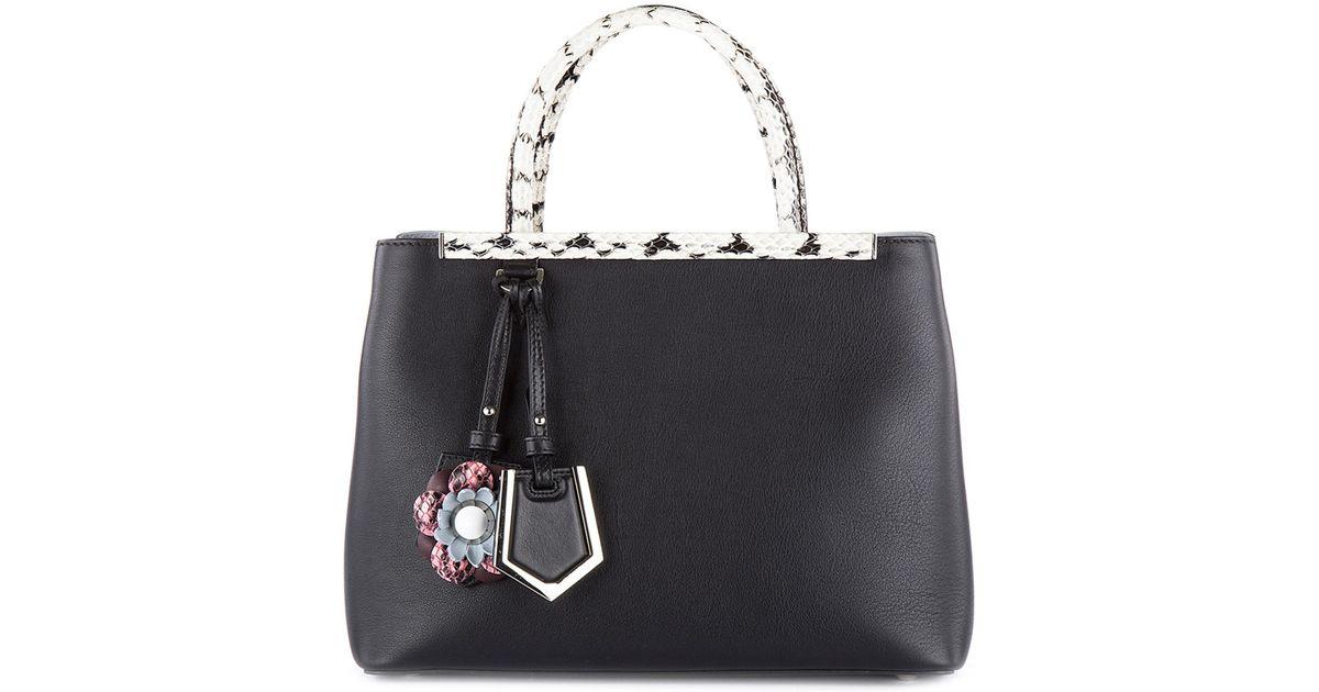 61c944844b42 Fendi Leather Handbag Shopping Bag Purse Petite 2jours Vitello Dolce Fiori  in Black - Lyst