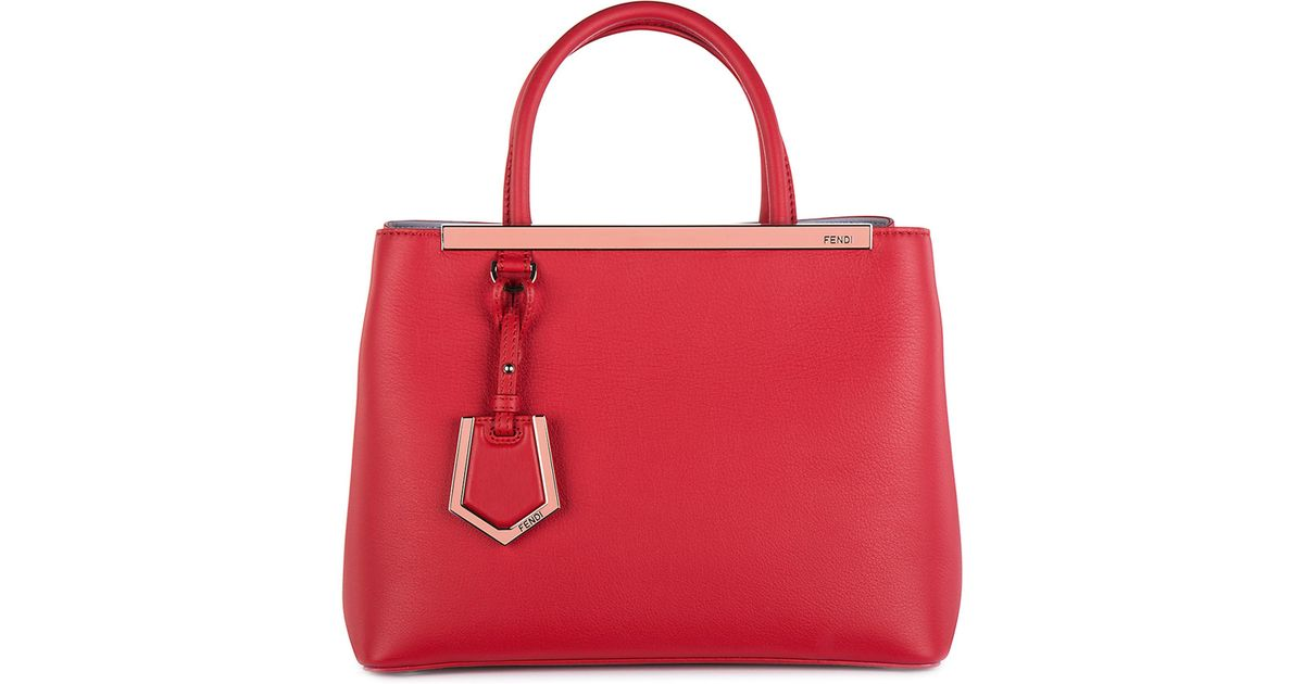 Lyst Fendi Leather Handbag Ping Bag Purse 2jours In Red