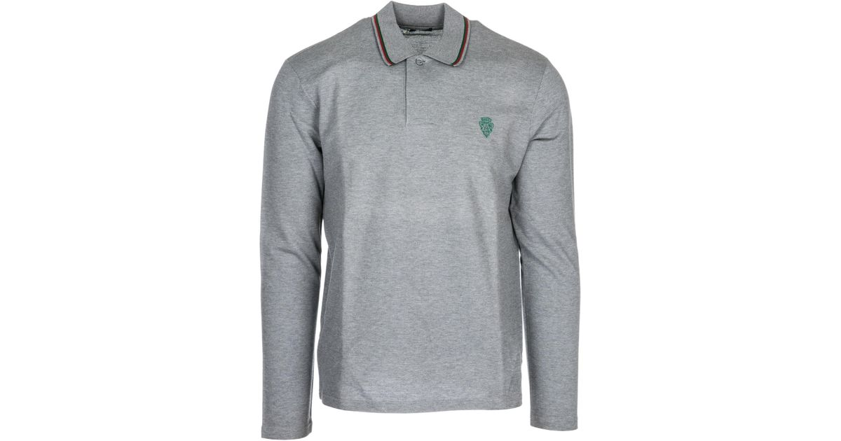 67bffcb0d0c Gucci Long Sleeve T-shirt Polo Collar in Gray for Men - Lyst