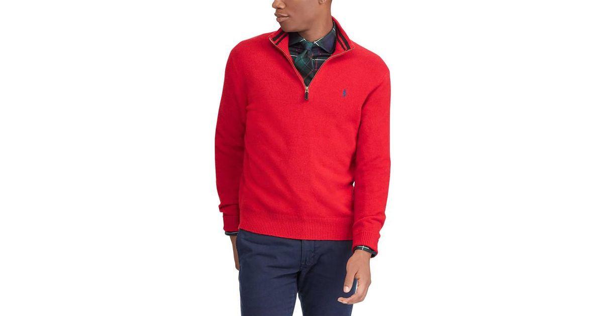 40e71985f33d8 Lyst - Pull à col zippé en laine et cachemire homme Polo Ralph Lauren pour  homme en coloris Rouge