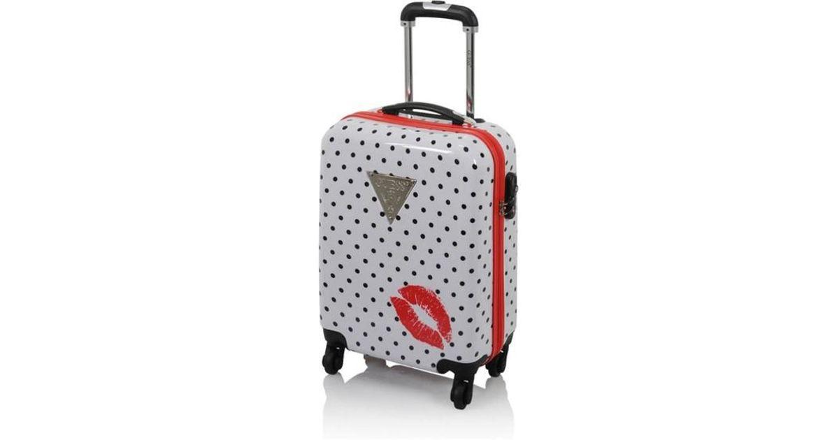 b5cc89c310 Lyst - Valise rigide Polka Dot Kiss 4R 59,5 cm Guess en coloris Blanc;