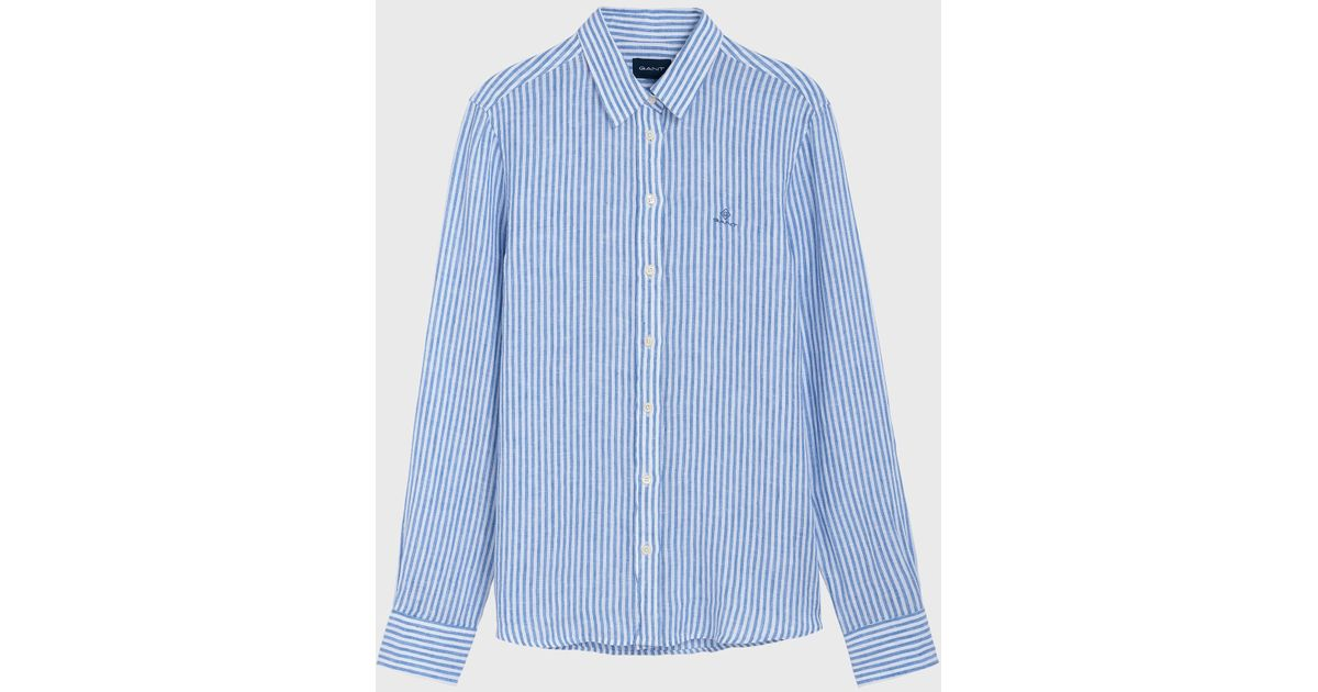e93ee0a0 GANT The Linen Chambray Stripe Shirt in Blue - Lyst