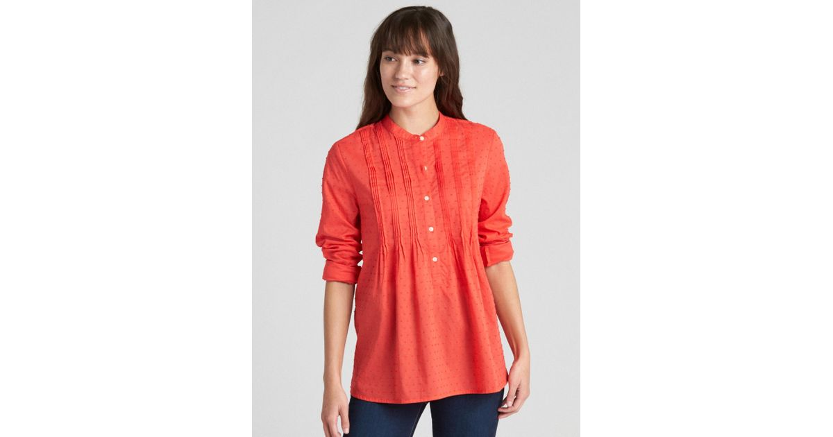 81afe0b9d4120 Lyst - Gap Popover Pintuck Shirt In Swiss Dot in Red