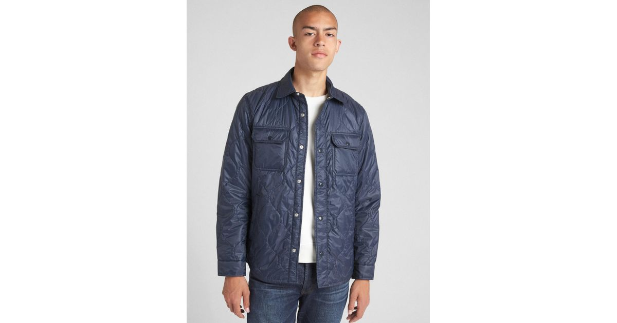 Lyst Gap Quilted Shirt Jacket In Blue For Men Save
